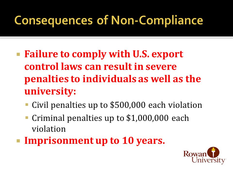 Failure to comply with U.S.