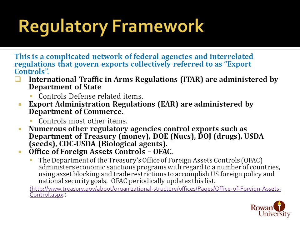 This is a complicated network of federal agencies and interrelated regulations that govern exports collectively referred to as Export Controls .