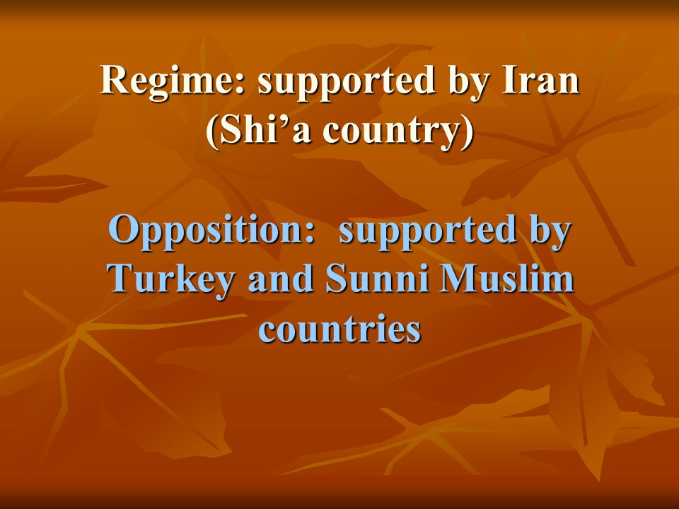 Regime: supported by Iran (Shi'a country) Opposition: supported by Turkey and Sunni Muslim countries
