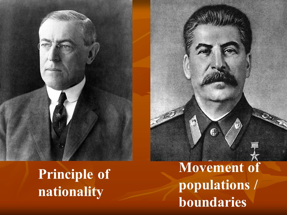 Principle of nationality Movement of populations / boundaries