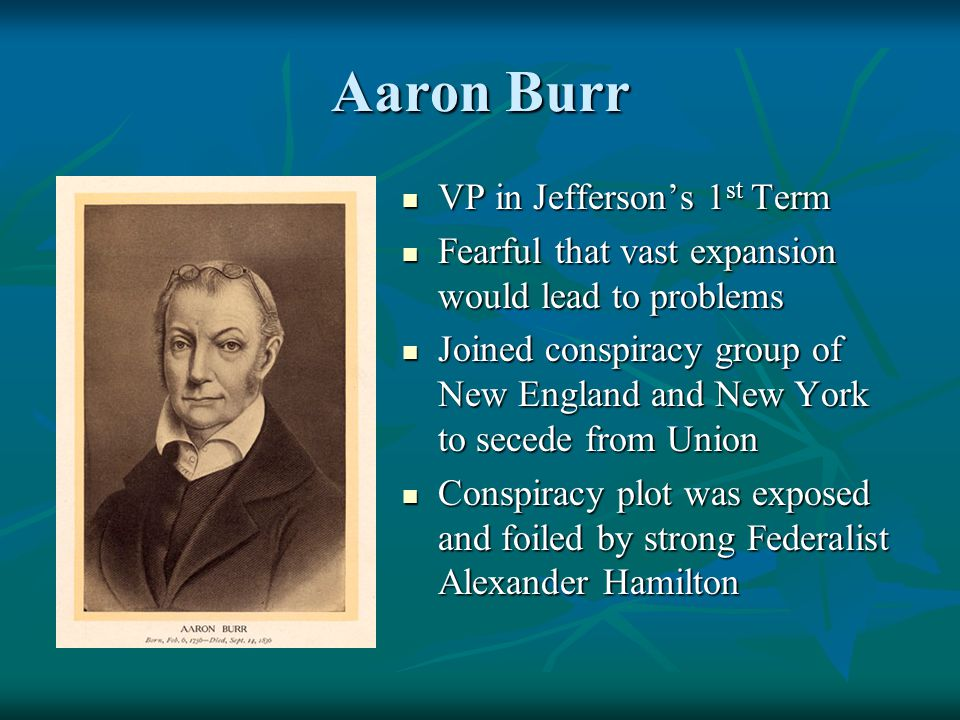 Aaron Burr VP in Jefferson's 1 st Term VP in Jefferson's 1 st Term Fearful that vast expansion would lead to problems Fearful that vast expansion woul