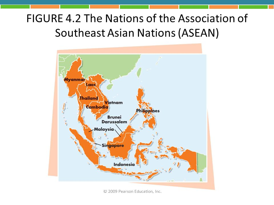 FIGURE 4.2 The Nations of the Association of Southeast Asian Nations (ASEAN) © 2009 Pearson Education, Inc.