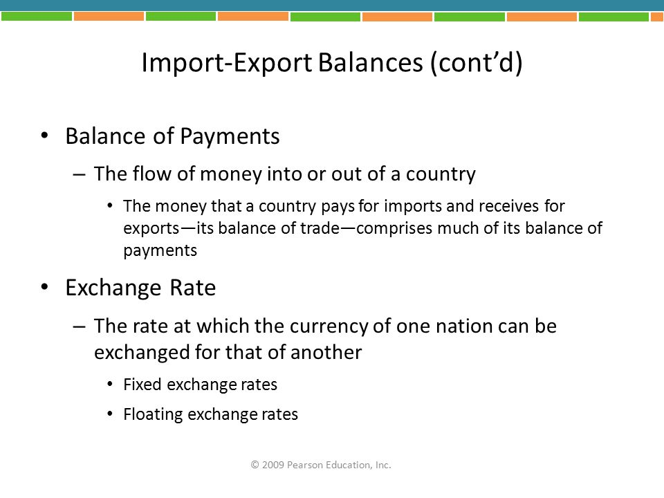 Import-Export Balances (cont'd) Balance of Payments – The flow of money into or out of a country The money that a country pays for imports and receive