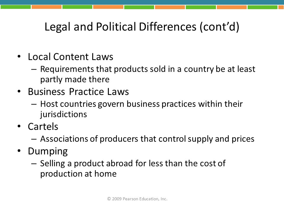 Legal and Political Differences (cont'd) Local Content Laws – Requirements that products sold in a country be at least partly made there Business Prac