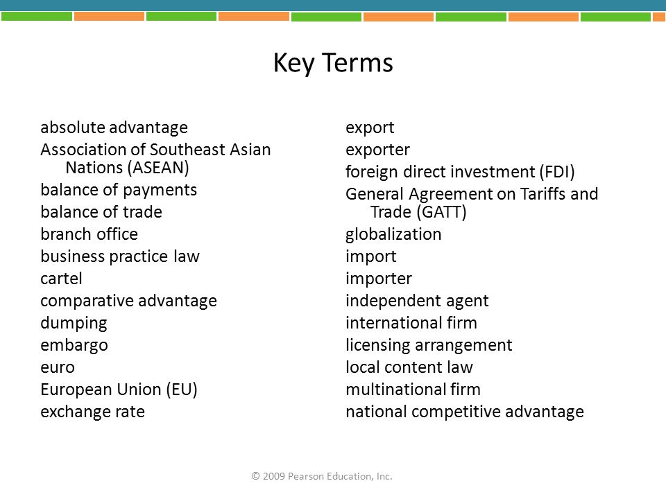 Key Terms absolute advantage Association of Southeast Asian Nations (ASEAN) balance of payments balance of trade branch office business practice law c