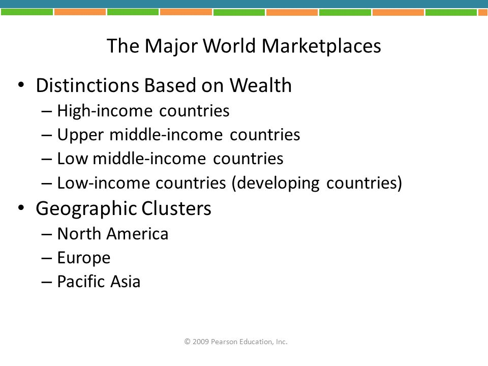 The Major World Marketplaces Distinctions Based on Wealth – High-income countries – Upper middle-income countries – Low middle-income countries – Low-