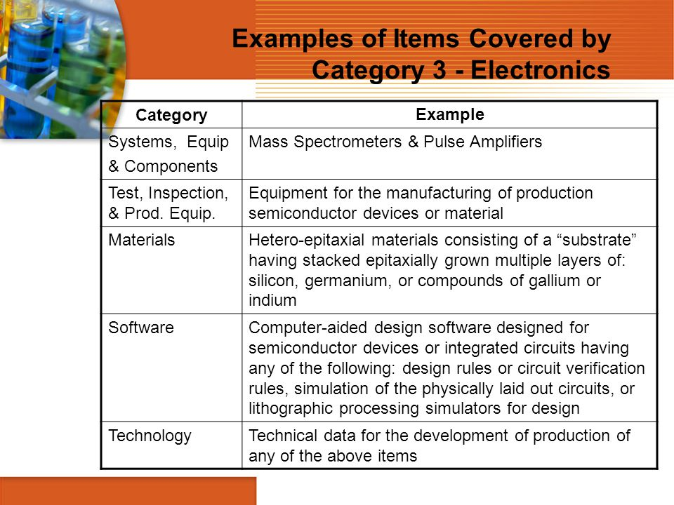 Examples of Items Covered by Category 3 - Electronics CategoryExample Systems, Equip & Components Mass Spectrometers & Pulse Amplifiers Test, Inspecti