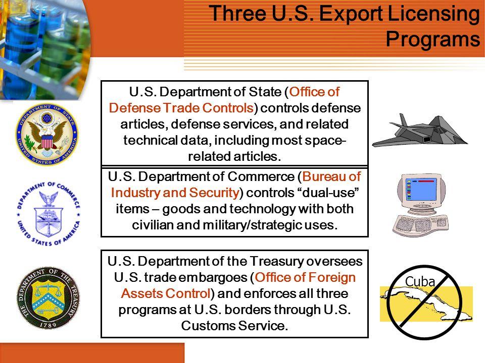 Three U.S. Export Licensing Programs Cuba U.S. Department of State (Office of Defense Trade Controls) controls defense articles, defense services, and