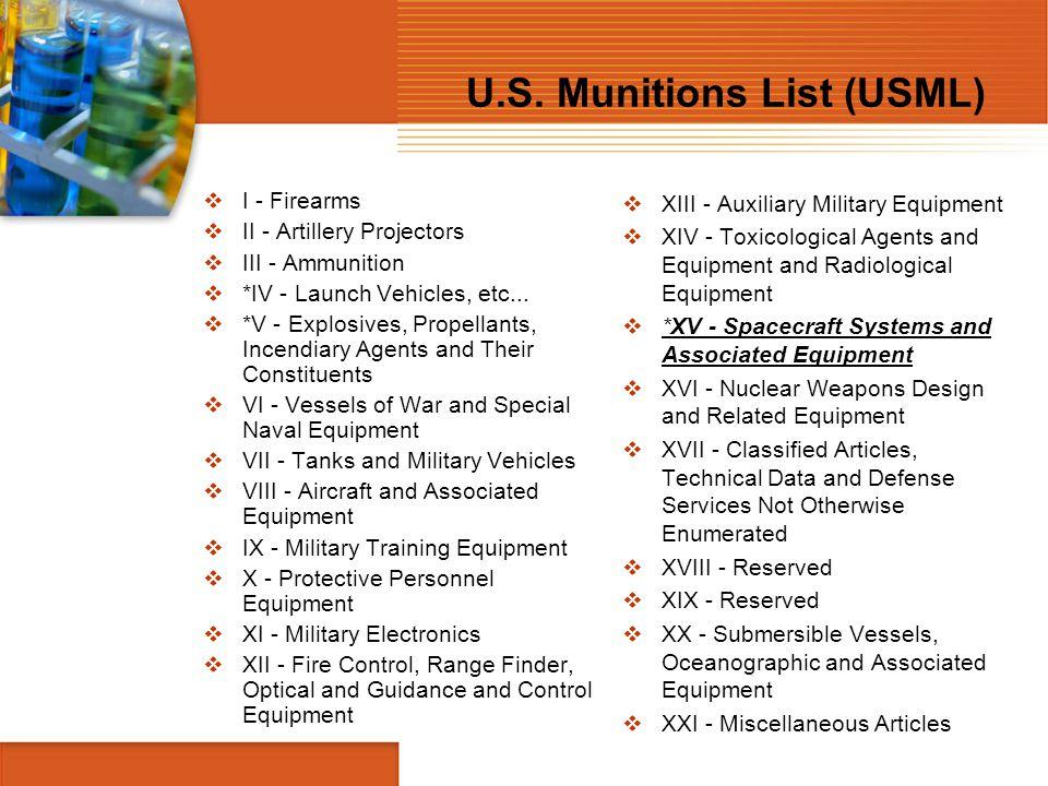 U.S. Munitions List (USML)  I - Firearms  II - Artillery Projectors  III - Ammunition  *IV - Launch Vehicles, etc...  *V - Explosives, Propellant