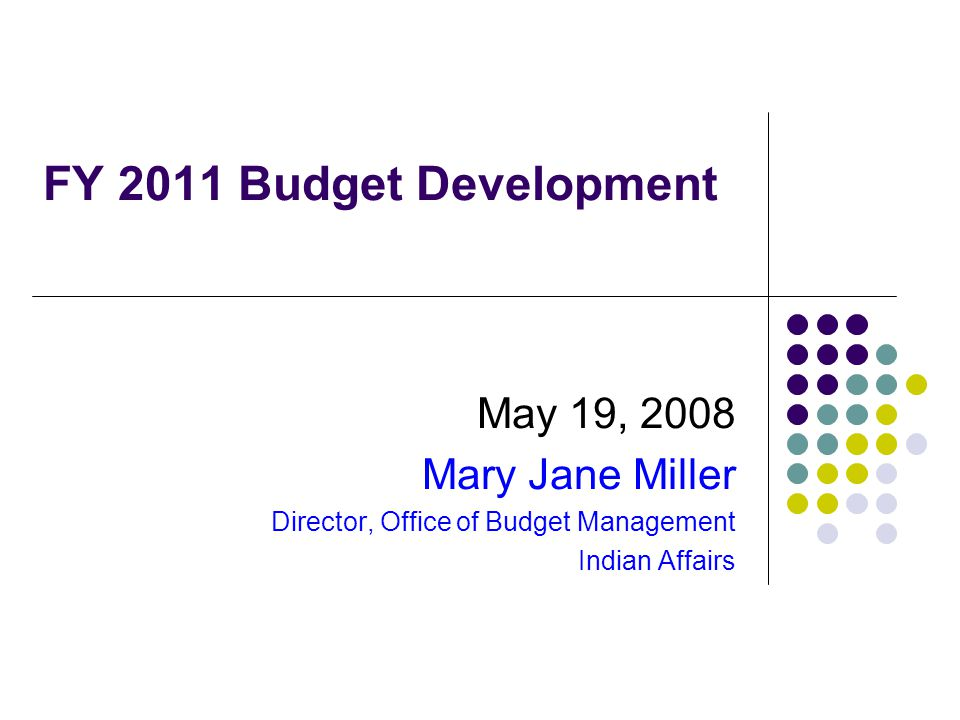 FY 2011 Budget Development May 19, 2008 Mary Jane Miller Director, Office of Budget Management Indian Affairs