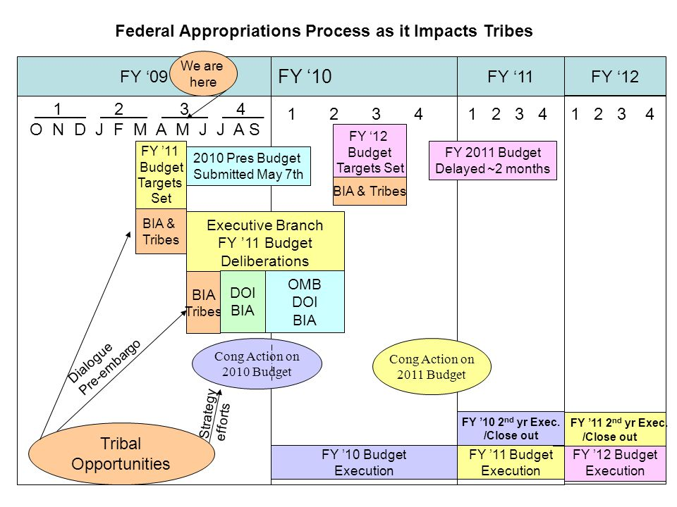 Federal Appropriations Process as it Impacts Tribes FY '09 FY '10 FY '11FY '12 1 2 3 4__ O N D J F M A M J J A S 1 2 3 4 We are here FY '11 Budget Tar