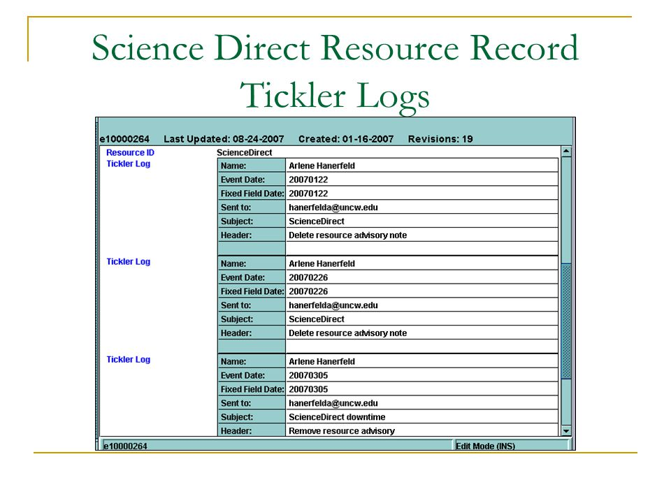 Science Direct Resource Record Tickler Logs