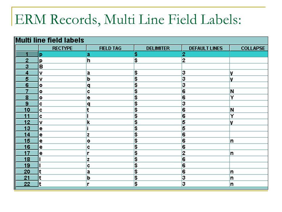 ERM Records, Multi Line Field Labels:
