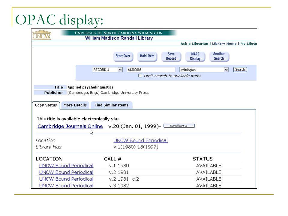 OPAC display: