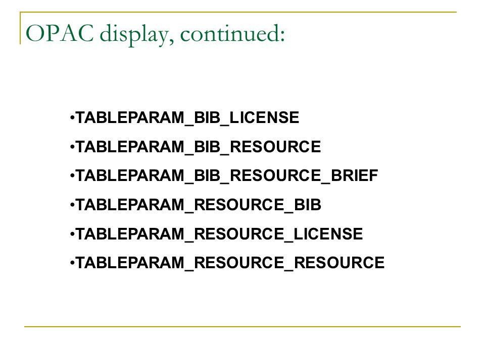 OPAC display, continued: TABLEPARAM_BIB_LICENSE TABLEPARAM_BIB_RESOURCE TABLEPARAM_BIB_RESOURCE_BRIEF TABLEPARAM_RESOURCE_BIB TABLEPARAM_RESOURCE_LICE