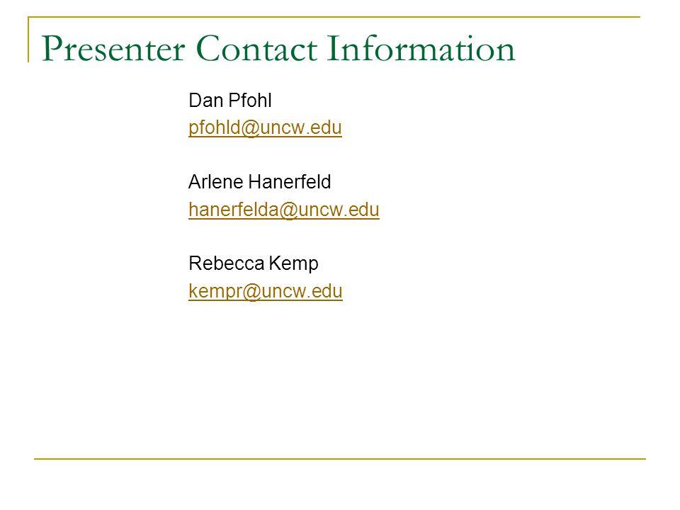 Presenter Contact Information Dan Pfohl pfohld@uncw.edu Arlene Hanerfeld hanerfelda@uncw.edu Rebecca Kemp kempr@uncw.edu