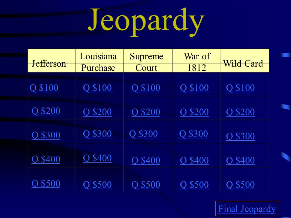 Jeopardy Jefferson Louisiana Purchase Supreme Court War of 1812 Wild Card Q $100 Q $200 Q $300 Q $400 Q $500 Q $100 Q $200 Q $300 Q $400 Q $500 Final