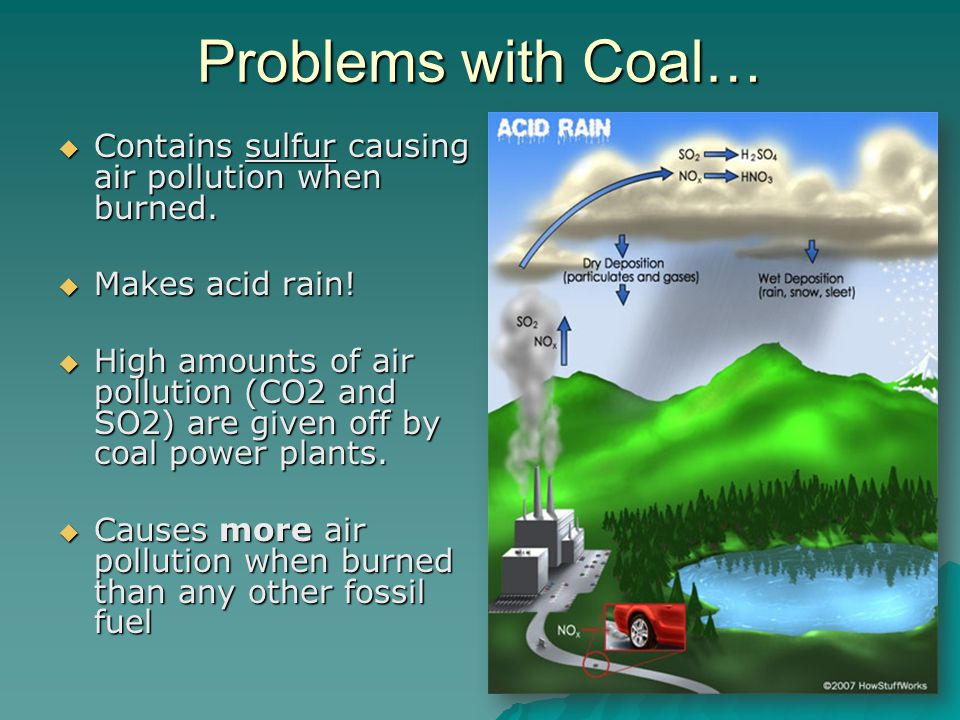 Problems with Coal…  Contains sulfur causing air pollution when burned.