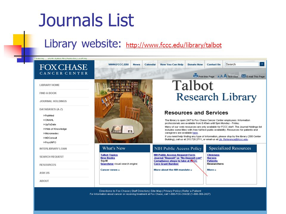 Journals List Library website: http://www.fccc.edu/library/talbot http://www.fccc.edu/library/talbot