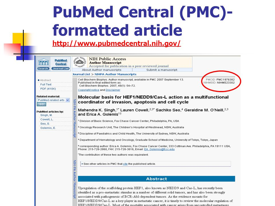PubMed Central (PMC)- formatted article http://www.pubmedcentral.nih.gov/ http://www.pubmedcentral.nih.gov/