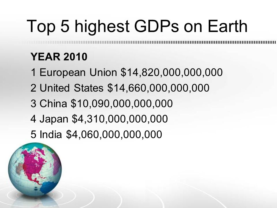 Top 5 highest GDPs on Earth YEAR 2010 1 European Union $14,820,000,000,000 2 United States $14,660,000,000,000 3 China $10,090,000,000,000 4 Japan $4,310,000,000,000 5 India $4,060,000,000,000