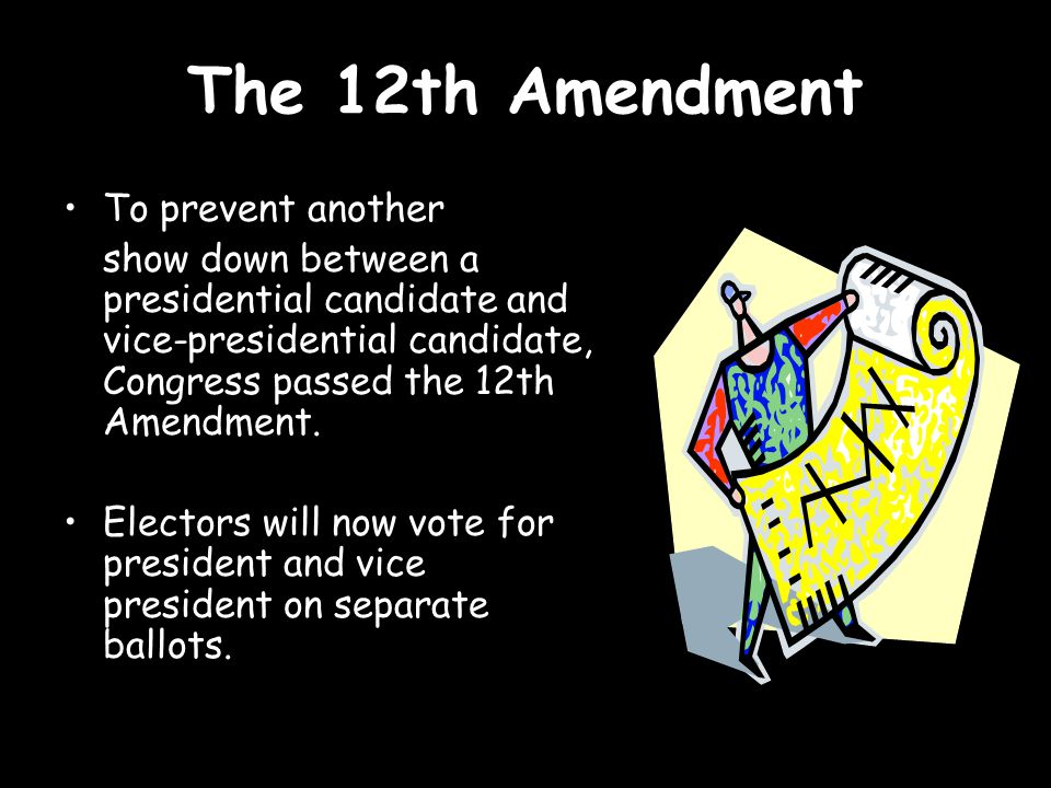 The 12th Amendment To prevent another show down between a presidential candidate and vice-presidential candidate, Congress passed the 12th Amendment.