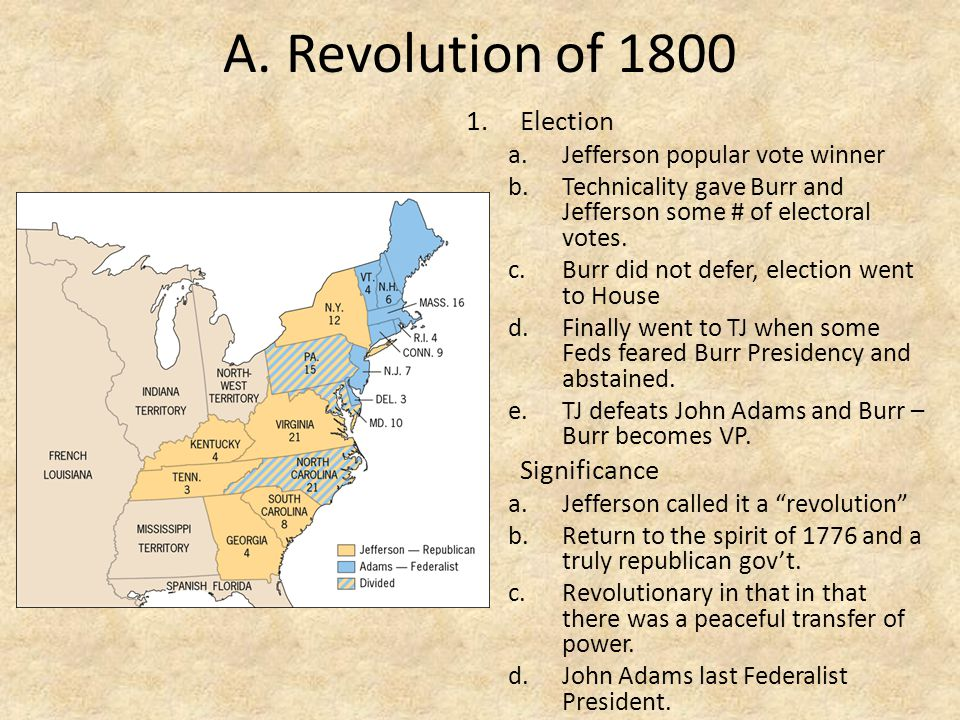 A. Revolution of 1800 1.Election a.Jefferson popular vote winner b.Technicality gave Burr and Jefferson some # of electoral votes. c.Burr did not defe