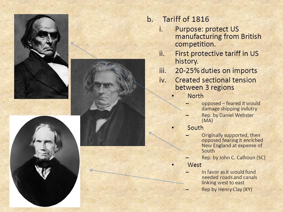 b.Tariff of 1816 i.Purpose: protect US manufacturing from British competition.