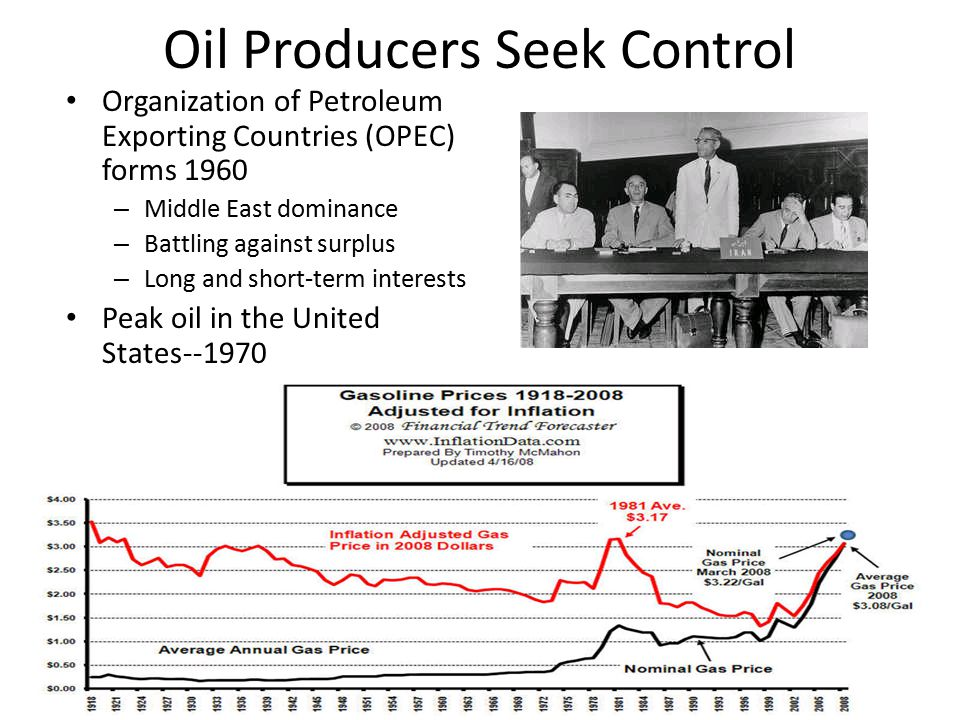 Oil Producers Seek Control Organization of Petroleum Exporting Countries (OPEC) forms 1960 – Middle East dominance – Battling against surplus – Long and short-term interests Peak oil in the United States--1970