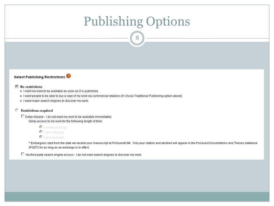8 Publishing Options