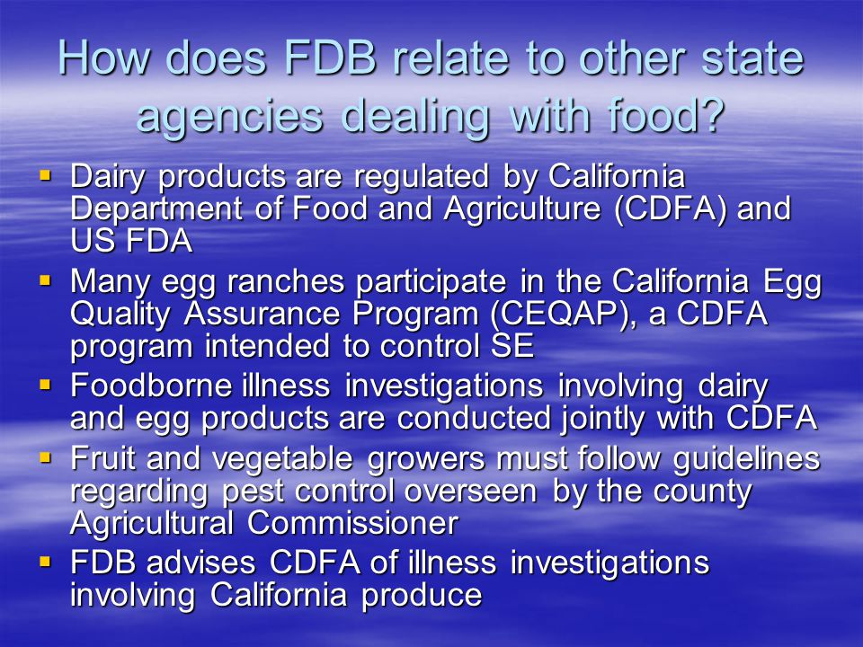 How does FDB relate to other state agencies dealing with food.