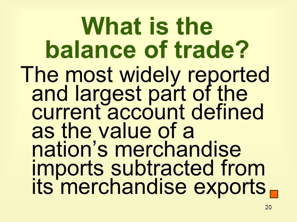 20 What is the balance of trade.