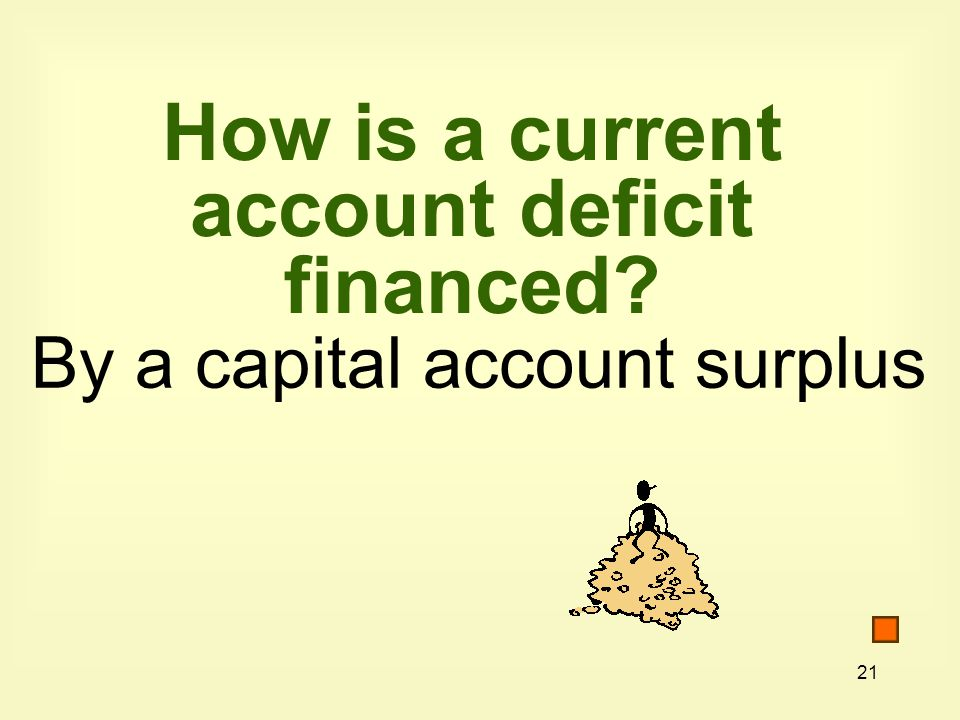 21 How is a current account deficit financed By a capital account surplus