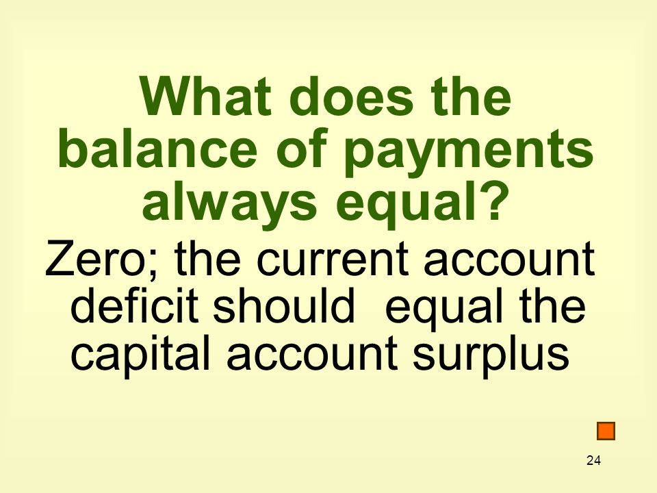 24 What does the balance of payments always equal.