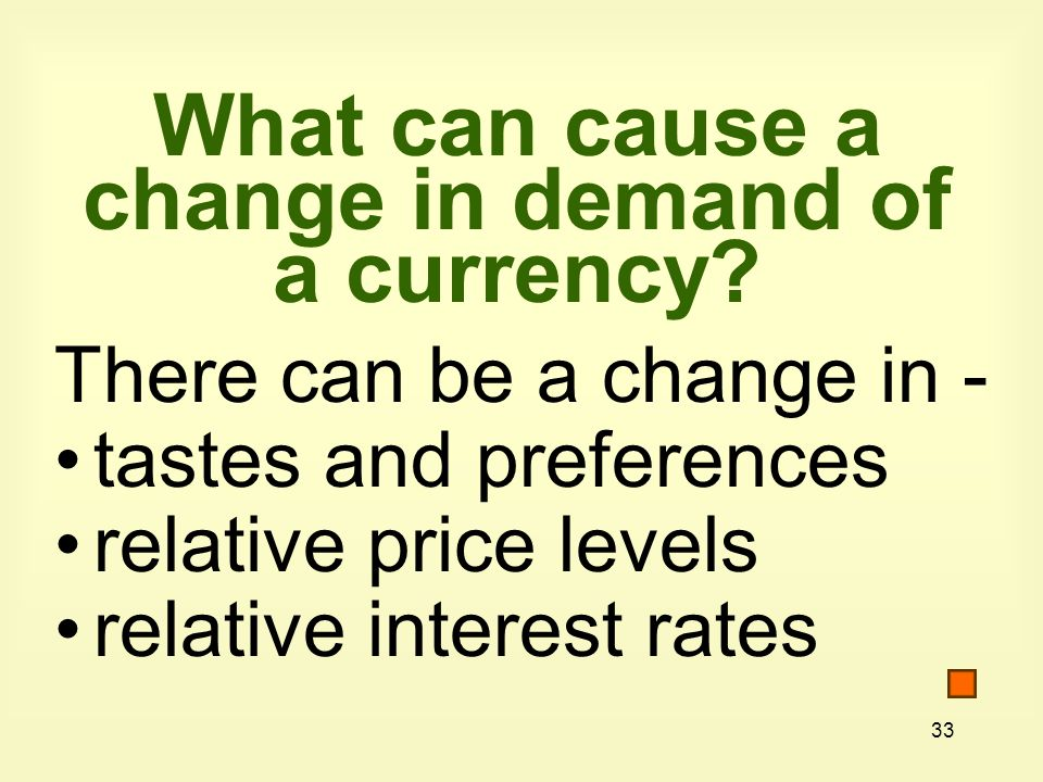 33 What can cause a change in demand of a currency.