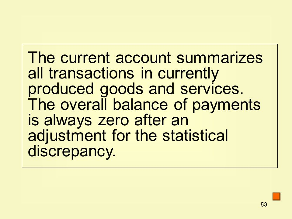 53 The current account summarizes all transactions in currently produced goods and services.