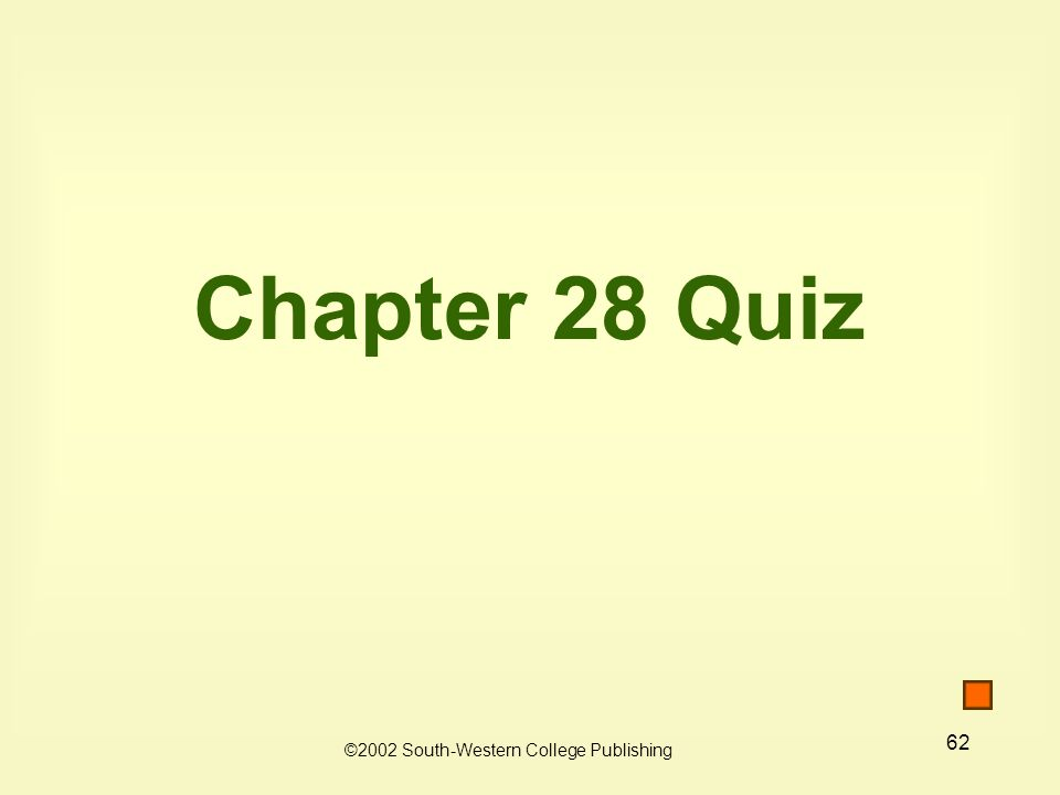 62 Chapter 28 Quiz ©2002 South-Western College Publishing