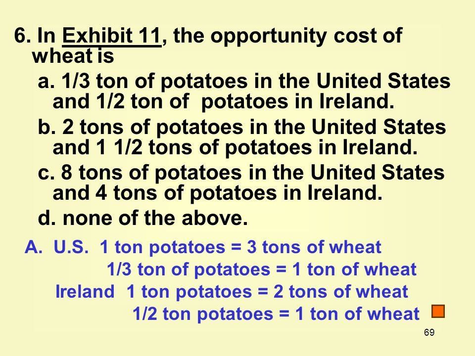 69 6. In Exhibit 11, the opportunity cost of wheat isExhibit 11 a.