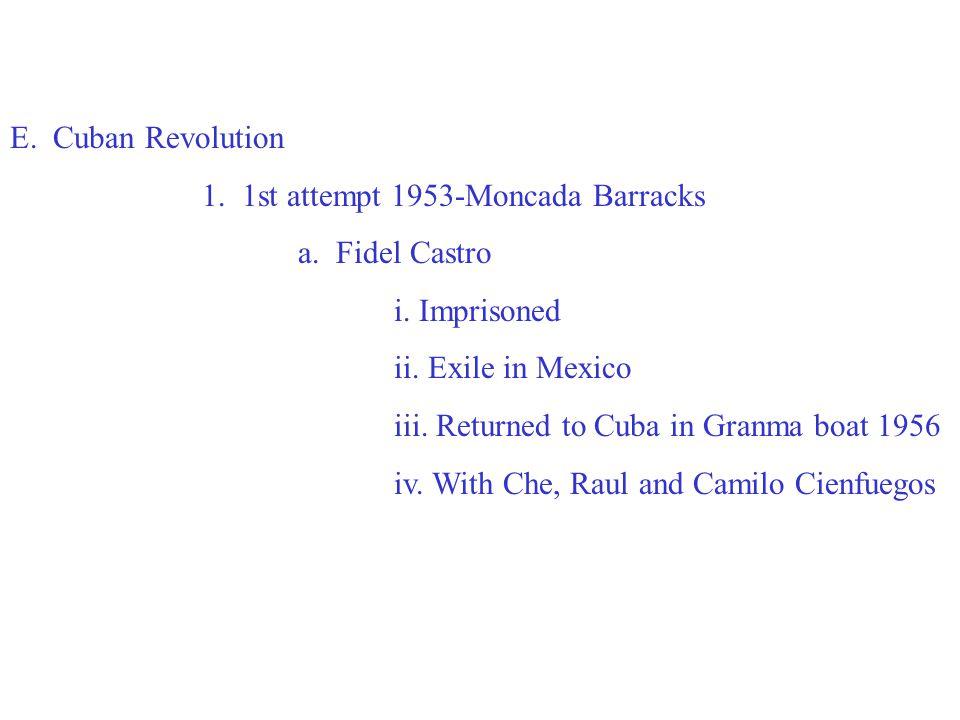 E. Cuban Revolution 1. 1st attempt 1953-Moncada Barracks a.