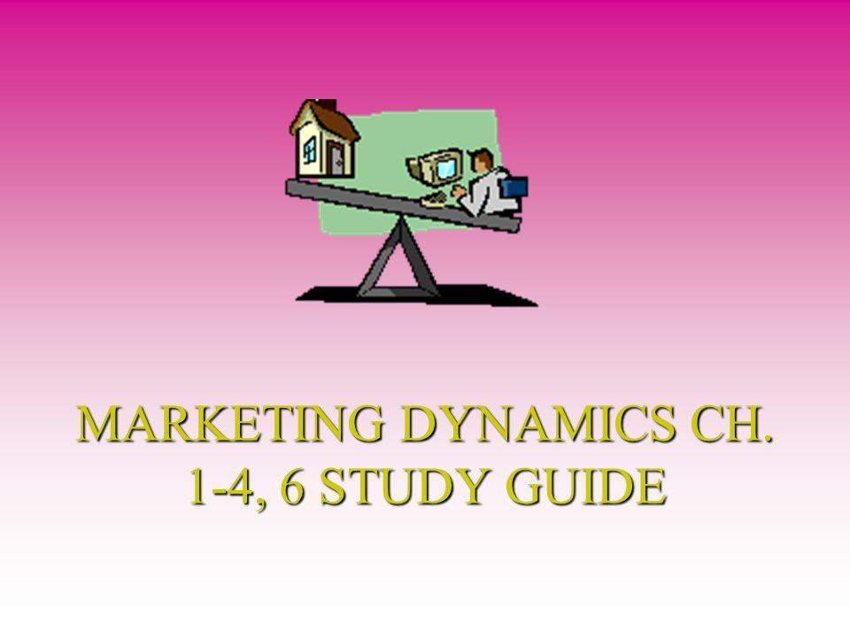 MARKETING DYNAMICS CH. 1-4, 6 STUDY GUIDE