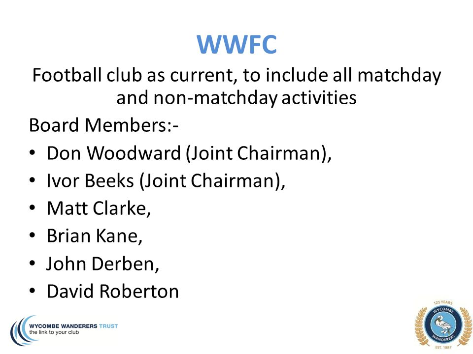 WWFC Football club as current, to include all matchday and non-matchday activities Board Members:- Don Woodward (Joint Chairman), Ivor Beeks (Joint Ch