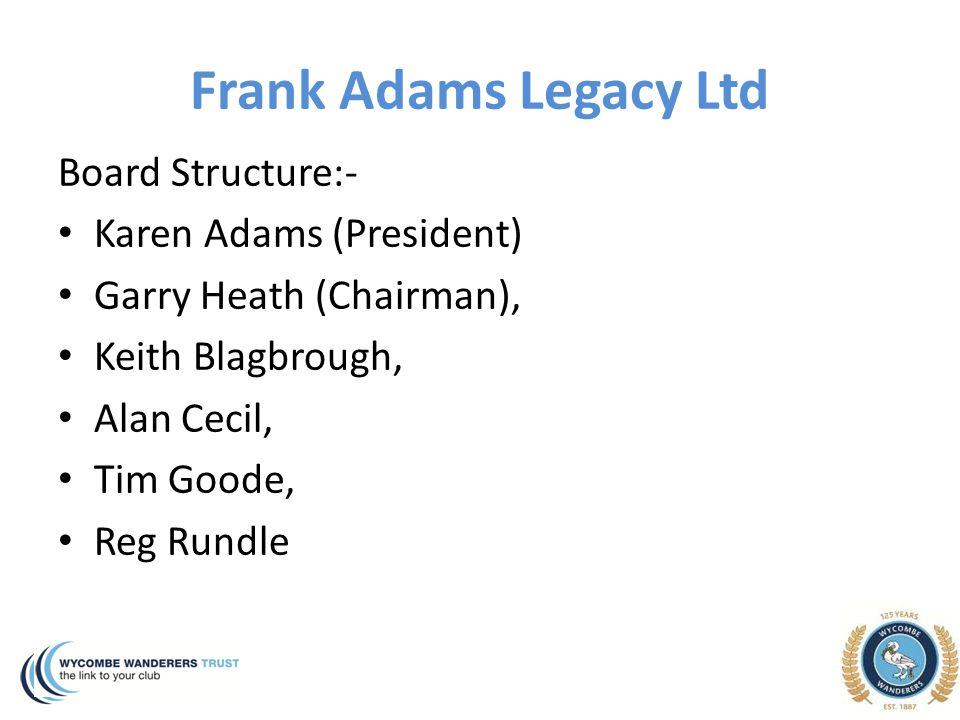 Frank Adams Legacy Ltd Board Structure:- Karen Adams (President) Garry Heath (Chairman), Keith Blagbrough, Alan Cecil, Tim Goode, Reg Rundle