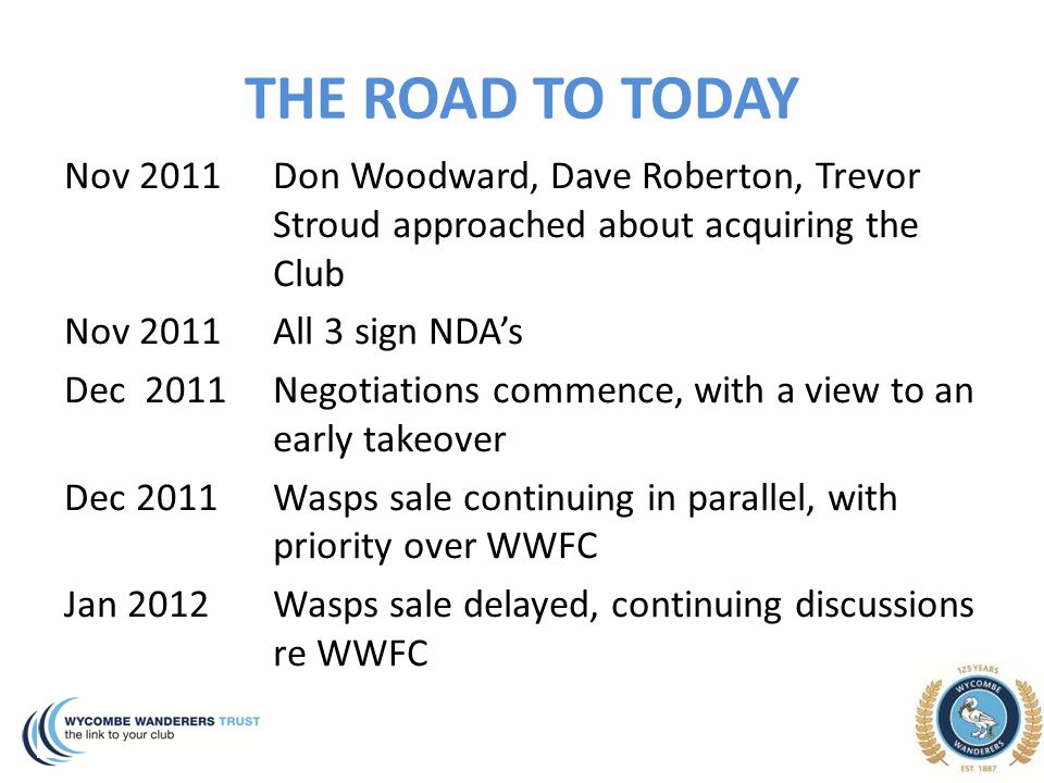 THE ROAD TO TODAY Nov 2011 Don Woodward, Dave Roberton, Trevor Stroud approached about acquiring the Club Nov 2011All 3 sign NDA's Dec 2011Negotiation