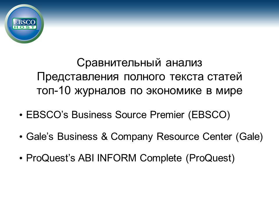 Сравнительный анализ Представления полного текста статей топ-10 журналов по экономике в мире EBSCO's Business Source Premier (EBSCO) Gale's Business &