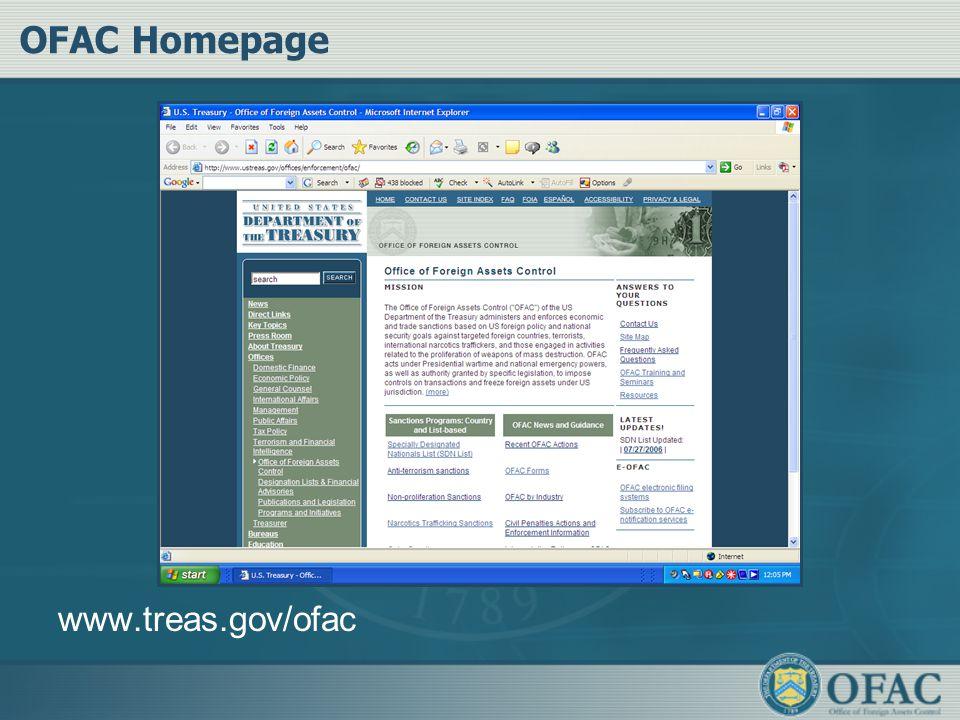 OFAC Homepage www.treas.gov/ofac