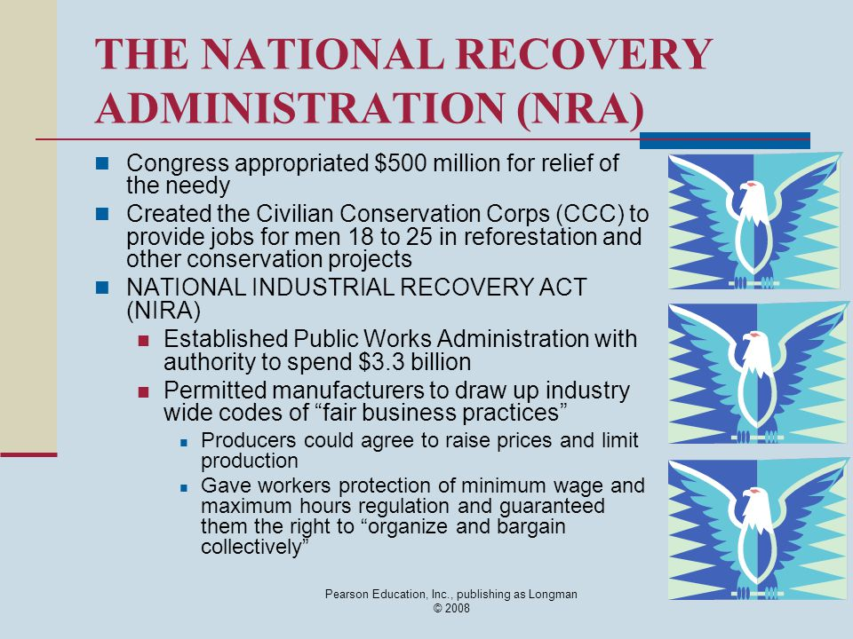 Pearson Education, Inc., publishing as Longman © 2008 THE NATIONAL RECOVERY ADMINISTRATION (NRA) Congress appropriated $500 million for relief of the