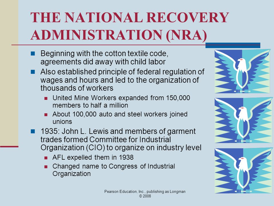 Pearson Education, Inc., publishing as Longman © 2008 THE NATIONAL RECOVERY ADMINISTRATION (NRA) Beginning with the cotton textile code, agreements di