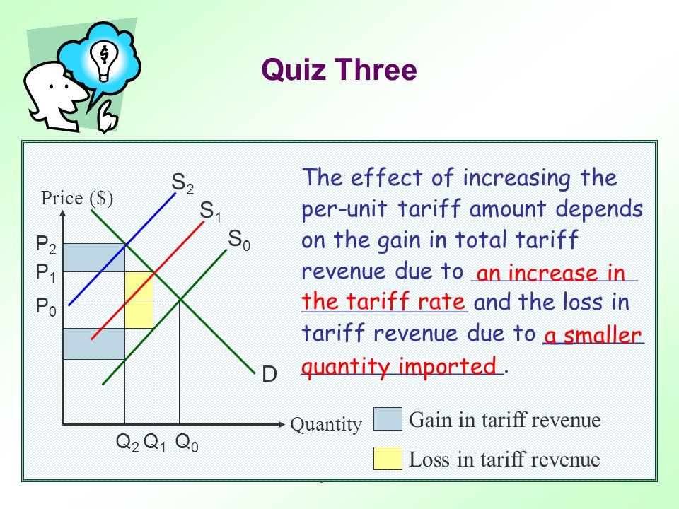 Trade protectionism16 Price ($) Quantity D S0S0 P0P0 Q0Q0 S1S1 S2S2 Gain in tariff revenue Loss in tariff revenue S 0 : supply curve before tariff S 1 : supply curve after imposing the original tariff S 2 : supply curve after imposing the new (higher) tariff Quiz Three P1P1 P2P2 Q1Q1 Q2Q2