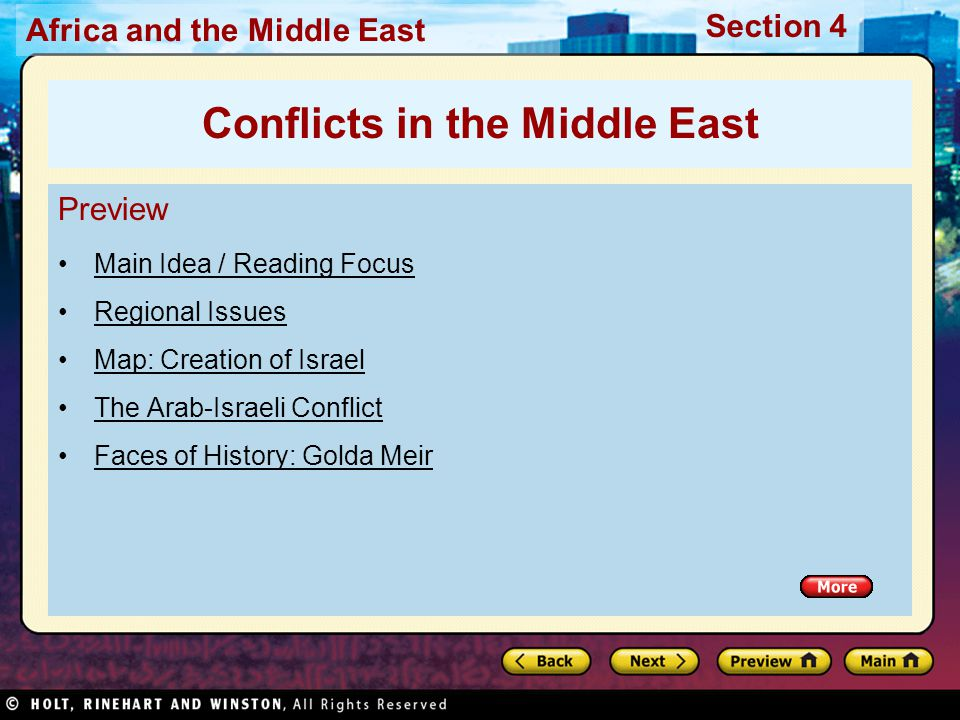 Africa and the Middle East Section 4 Preview Main Idea / Reading Focus Regional Issues Map: Creation of Israel The Arab-Israeli Conflict Faces of Hist