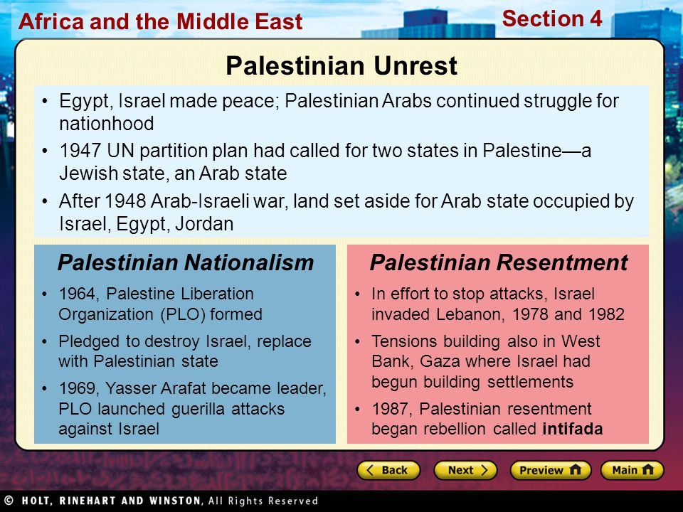 Africa and the Middle East Section 4 Egypt, Israel made peace; Palestinian Arabs continued struggle for nationhood 1947 UN partition plan had called f
